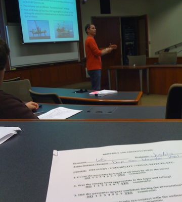 First year MBA Wes Gautreaux presents about vessel investment in MCOM601. All first year MBAs tak