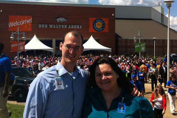 Lola Bravo and manager Alex Laputz at the 2013 Walmart Shareholders' Meeting